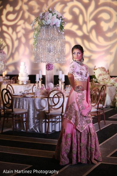 indian bride lengha,indian wedding reception floral and decor,indian wedding reception