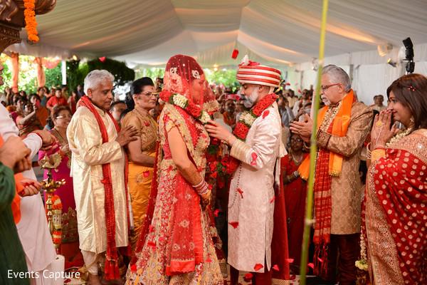 indian wedding ceremony,indian bride,indian groom,jaimala