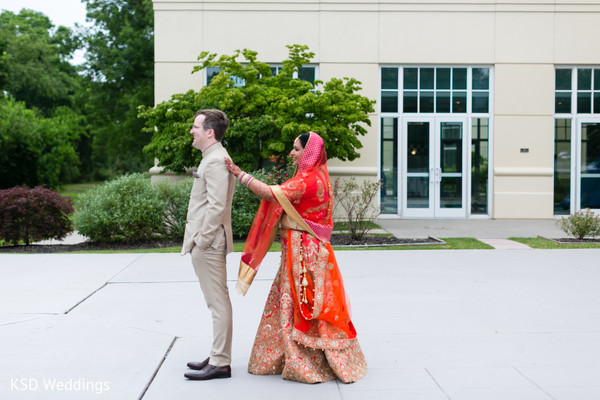 Insanely beautiful first look photo in Hauppauge, NY Fusion Indian Wedding by KSD Weddings