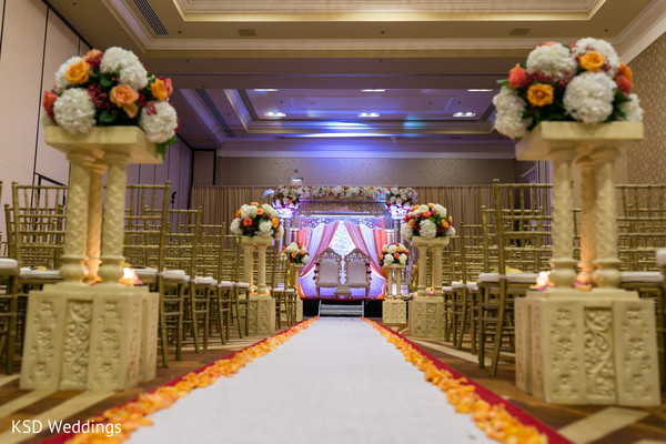 Showstopping Indoors wedding ceremony decoration. in Hauppauge, NY Fusion Indian Wedding by KSD Weddings