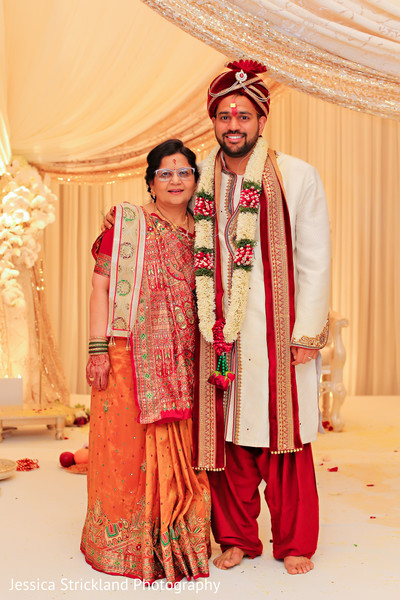 Indian groom with his mother