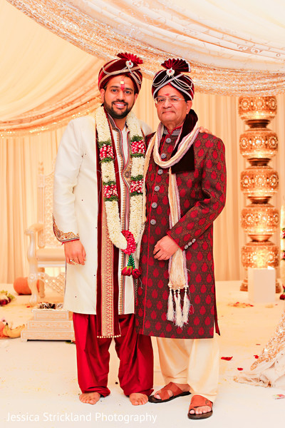 Indian groom with his father