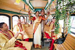 Indian bride and groom during bridal party