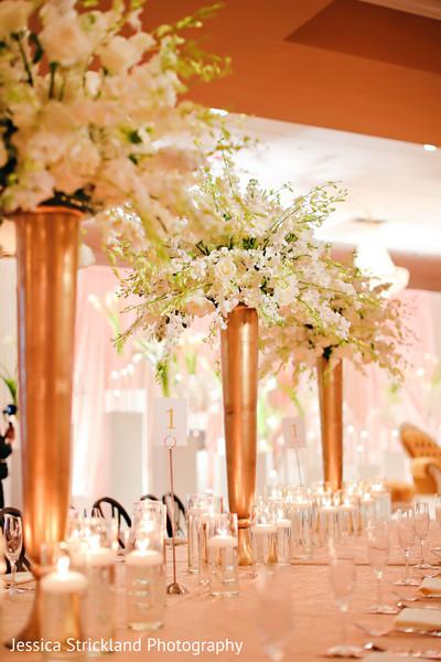 Indian wedding reception floral decor
