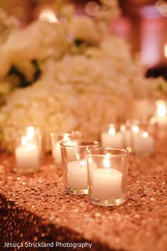 Indian wedding reception candles decor