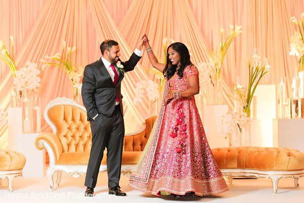indian wedding reception,reception stage,indian bride reception fashion,indian groom suit