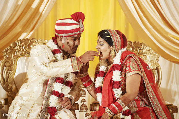 indian bride and groom,indian wedding ceremony,kansar bhakshan