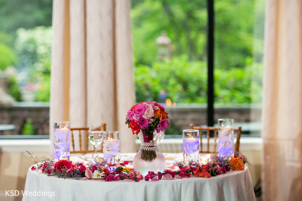 indian wedding reception,floral and decor,sweetheart table