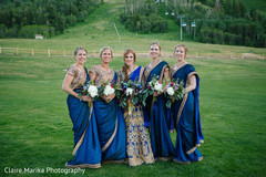 indian bridesmaids,indian bride,bridal party,sari
