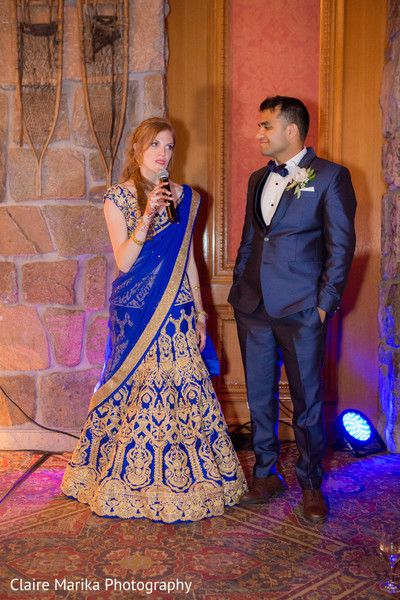 Indian couple speech. in Snowbasin, UT Fusion Indian Wedding by Claire Marika Photography