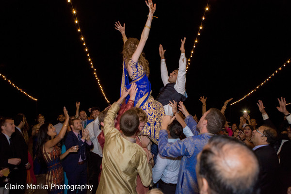 Vibrant Indian wedding reception. in Snowbasin, UT Fusion Indian Wedding by Claire Marika Photography