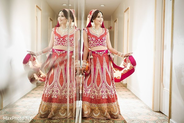 Lovely indian bride posing in Jamaica, NY Indian Wedding by MaxPhoto NY