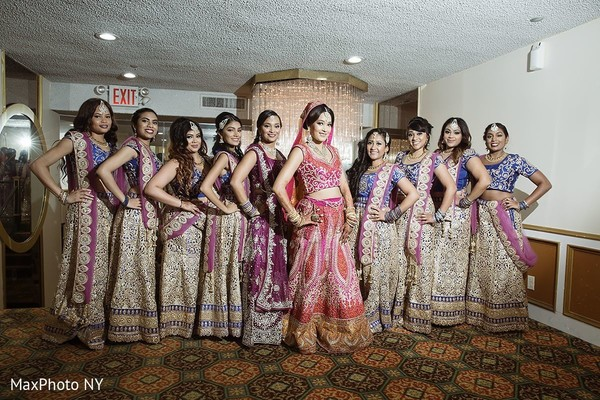 Indian bride with bridesmaids portrait in Jamaica, NY Indian Wedding by MaxPhoto NY