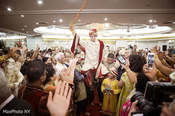 Marvelous indian groom's entrance in Jamaica, NY Indian Wedding by MaxPhoto NY