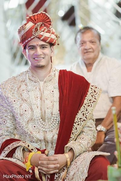 Elegant indian groom in Jamaica, NY Indian Wedding by MaxPhoto NY