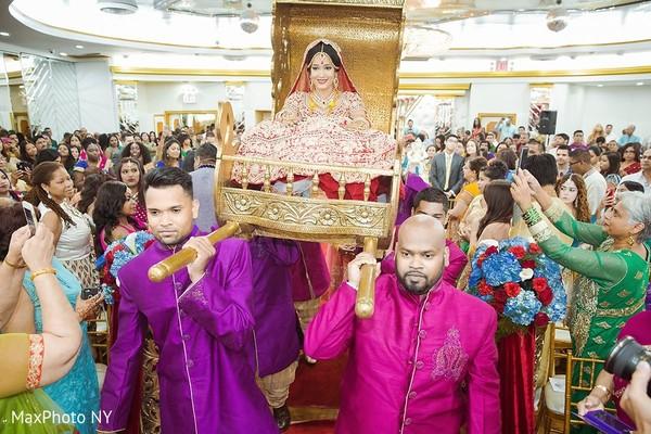 Dazzling indian bride entrance to wedding ceremony in Jamaica, NY Indian Wedding by MaxPhoto NY