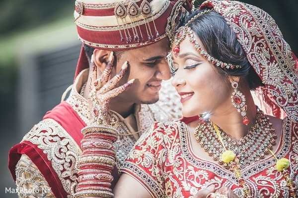 Romantic indian bride and groom in Jamaica, NY Indian Wedding by MaxPhoto NY