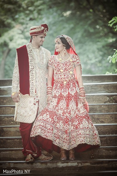 Lovely indian bride and groom in Jamaica, NY Indian Wedding by MaxPhoto NY