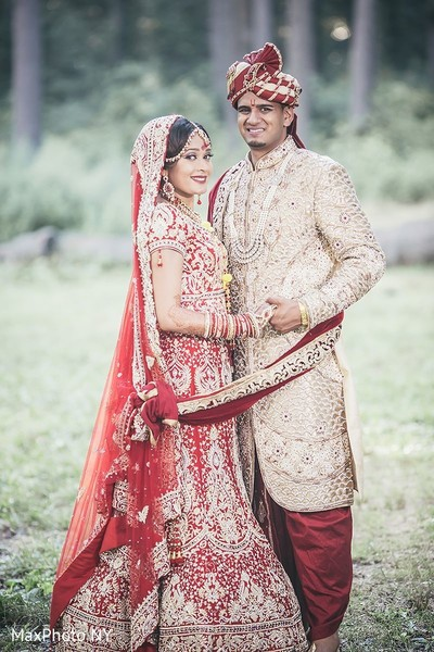 Adorable indian bride and groom portrait in Jamaica, NY Indian Wedding by MaxPhoto NY