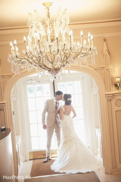 Enchanting indian bride and groom kissing in Jamaica, NY Indian Wedding by MaxPhoto NY