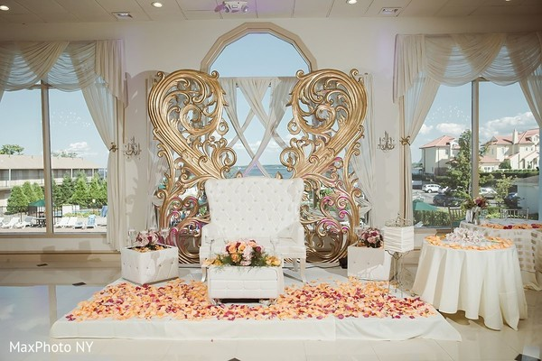 Indian wedding reception stage in Jamaica, NY Indian Wedding by MaxPhoto NY