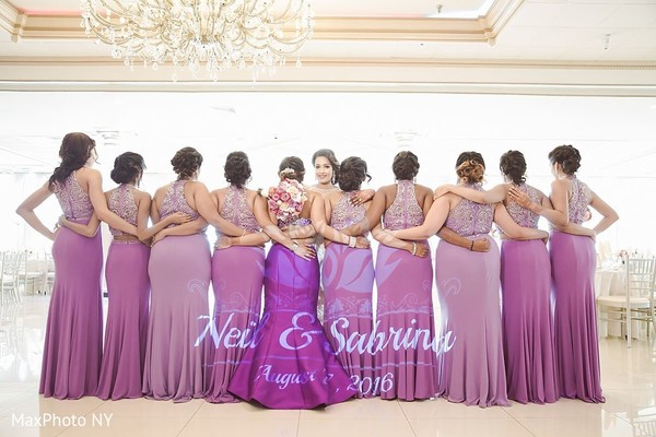 Indian bride with bridesmaids at wedding reception in Jamaica, NY Indian Wedding by MaxPhoto NY