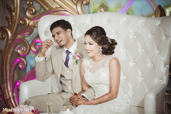 Beautiful indian bride and groom enjoying their wedding reception in Jamaica, NY Indian Wedding by MaxPhoto NY