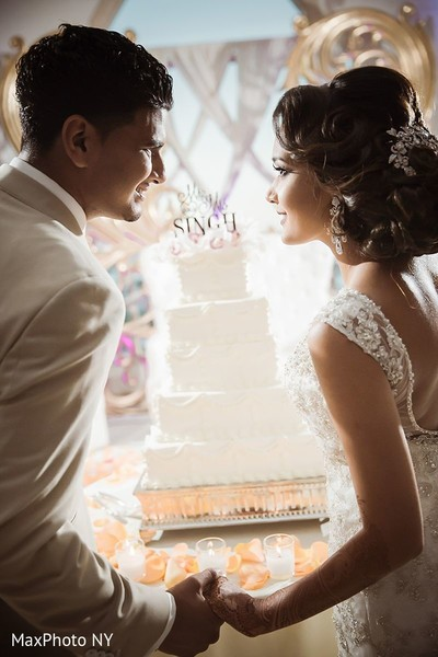 Marvelous shoot of indian couple with wedding cake in Jamaica, NY Indian Wedding by MaxPhoto NY