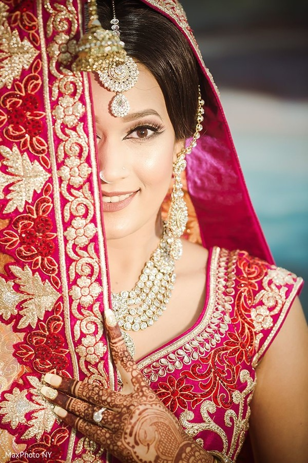Gorgeous indian bride posing in Jamaica, NY Indian Wedding by MaxPhoto NY