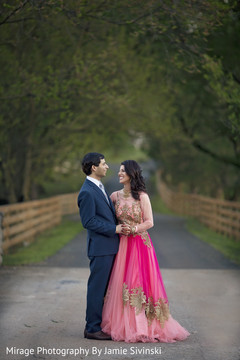 Adorable indian bride and groom outdoor photo shoot