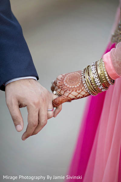 Indian bride and groom's hands close-up