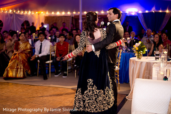 Stylish indian couple giving their wedding speech