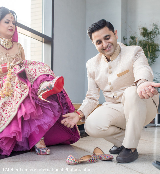 Indian bride and groom fun moment