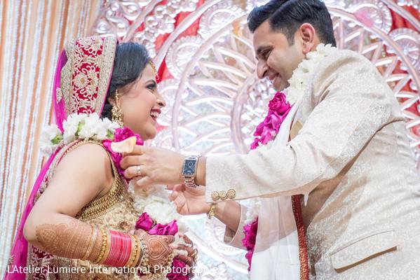 indian wedding ceremony,indian bride fashion,indian groom fashion,jai mala ceremony