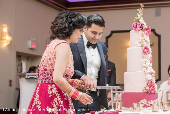 indian bride reception fashion,indian groom suit,indian wedding reception,indian wedding cake