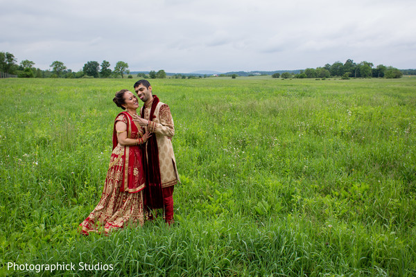 Indian Wedding picture in a field.