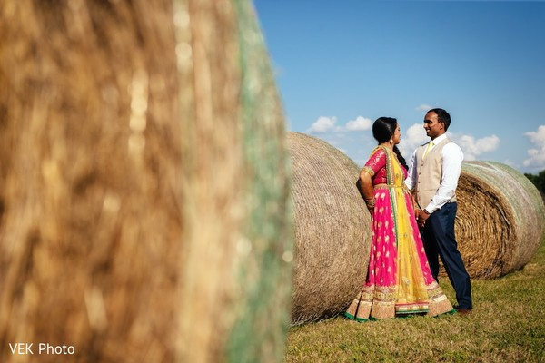 Dazzling indian bride and groom posing for photo shoot in Texas Indian Wedding by Vek Photo