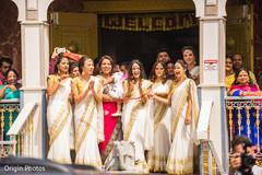 indian bridesmaids,white and gold sari,indian bridesmaids fashion