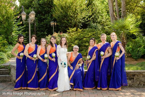 indian bride,white wedding dress,bridal bouquet,indian bridesmaids