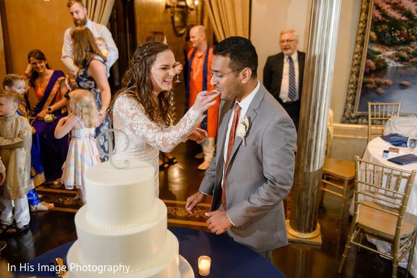 indian bride and groom,wedding cake,india fusion wedding reception