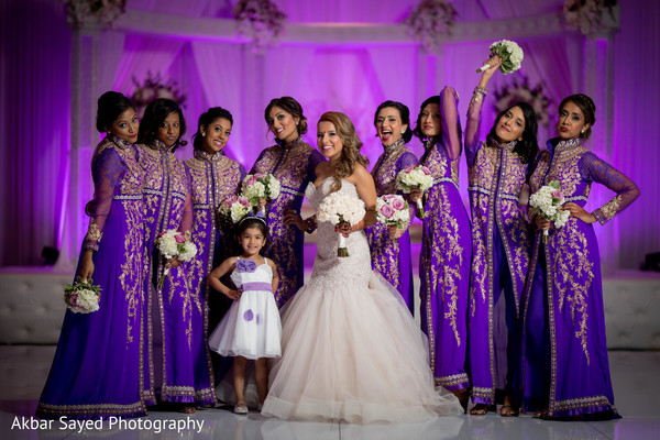 Glamorous indian bride with bridesmaids