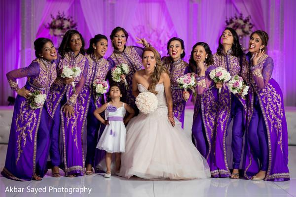 Joyful wedding reception photo shoot