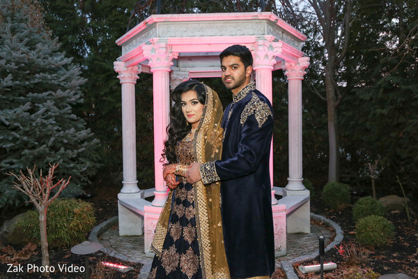 Outdoor gardens Pakistani wedding photo shoot.