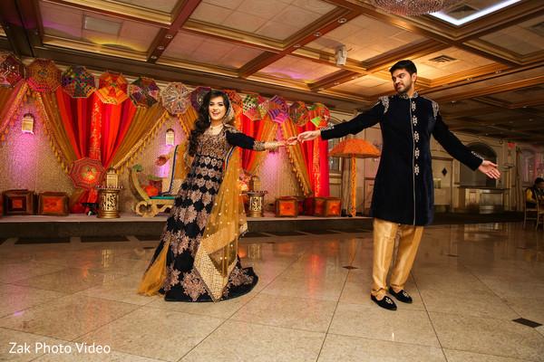 Pakistani bride and groom dance.