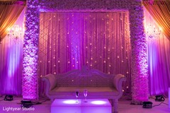 indian wedding reception,floral and decor,sweetheart stage,lightning