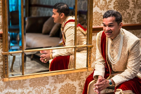 Indian groom wedding  ceremony outfit.