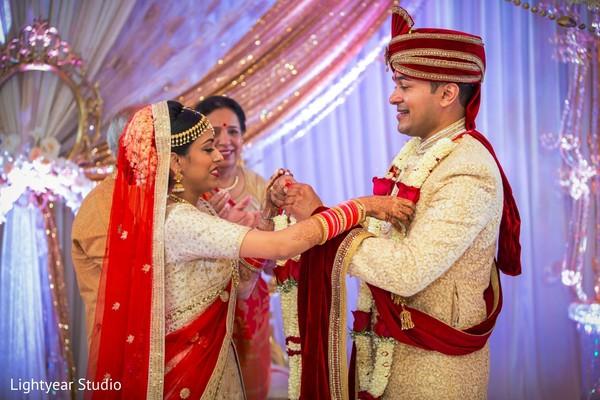 Indian wedding flower garland exchange.