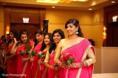 Lovely Bridesmaids gold and pink saris.