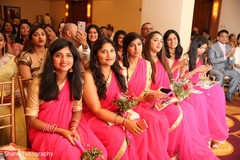 indian wedding ceremony,indian bridesmaids,saris,flower bouquet