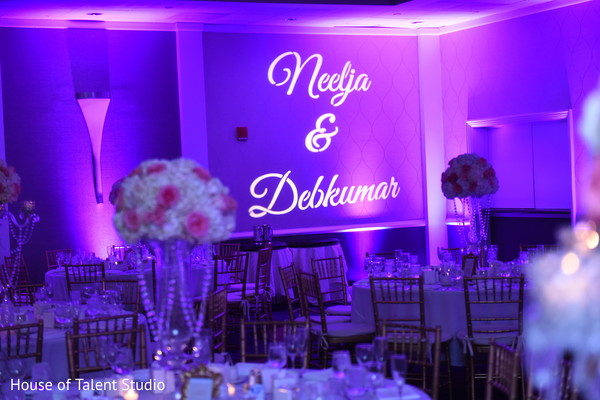 Light projection with bride and groom's name